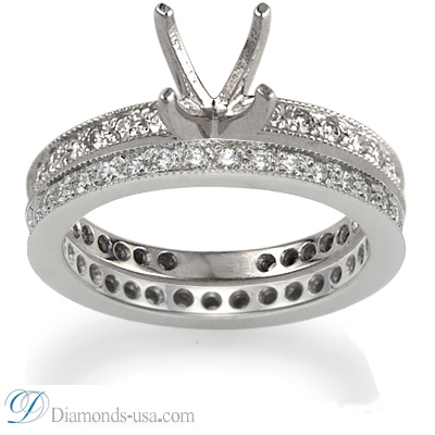 Thin bridal rings set with round diamonds