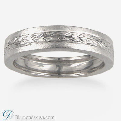 4.5mm Flat Burnished surface Wedding band with Hand Engravement all around