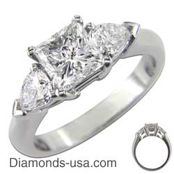 Princess engagement ring with a side stones setting