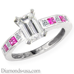 Diamonds & pink Sapphires engagement ring
