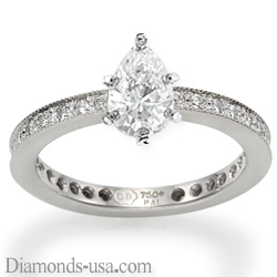 Mill grained round diamonds engagement ring