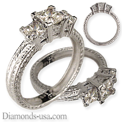 Three Princess diamond ring,hand engraved