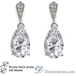 Stud and drop Pear shape diamond earrings-settings