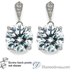 Stud and drop Round diamond earrings-settings