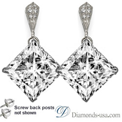 Stud and drop Princess diamond earrings