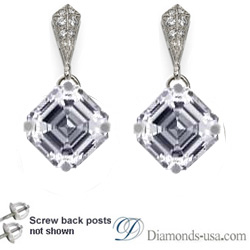 Stud and drop Asscher diamond earrings, settings