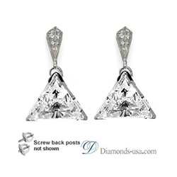 Stud and drop Triangle diamond earrings-settings