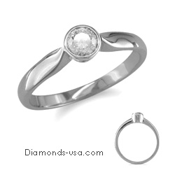 Low Profile Bezel set, solitaire engagement ring