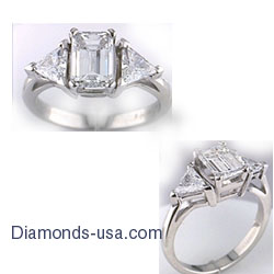 Engagement ring settings with side triangle diamonds