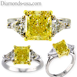 Triangle sides ring settings for white or Yellow center diamonds
