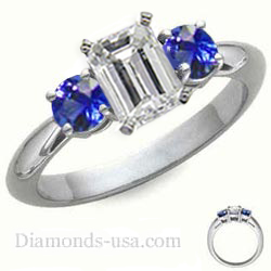 1 carat sides Blue Sapphires Engagement ring