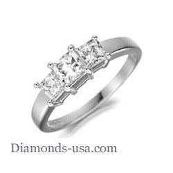 Three princess diamond engagement ring