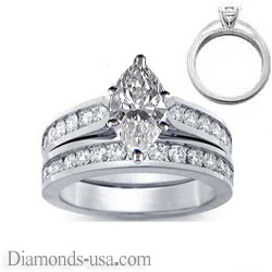 Bridal rings set, sides 1 carat round diamonds