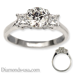 Engagement ring, side Princess diamonds 0.40Cts