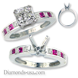 Engagement ring with diamonds & pink rubies