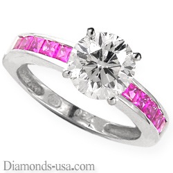 Engagement ring with pink Princess Sapphires