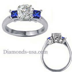Engagement ring with side Blue Princess Sapphires