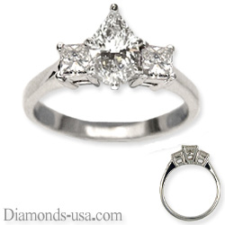 Engagement ring with side diamond princess