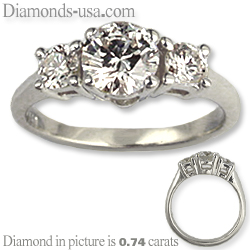 Engagement ring with side diamonds 0.33 carats