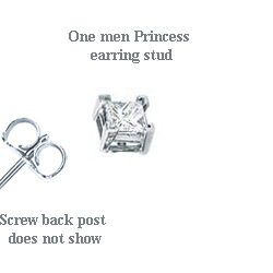 1.01 Carats, Princess, Men diamond studs