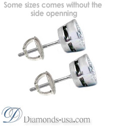 Bezel set for round diamond earrings
