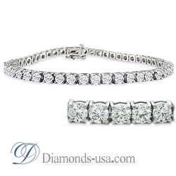 Four prongs diamonds tennis bracelet
