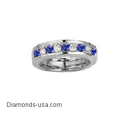 4.7mm Round Diamond and Sapphires  wedding  or anniversary band-finished