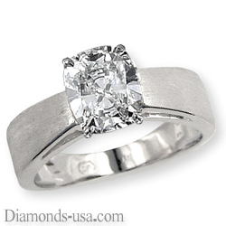 Wide band solitaire diamond engagement ring