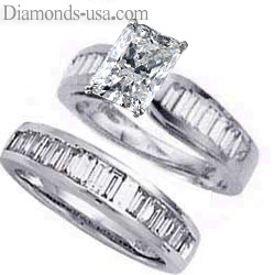 Bridal set, 2 carats baguette diamonds
