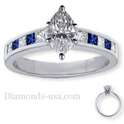 Engagement ring, accent Princess Sapphires & Diamonds