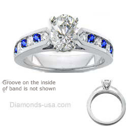 Engagement ring, Round Diamonds & Sapphires