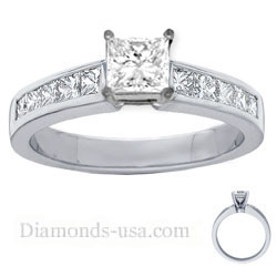 Engagement ring settings, 1 carat side Princess