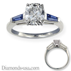 Accent Baguette Sapphires engagement ring settings