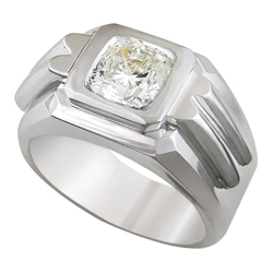0.59 Carats, Princess, Men diamond ring