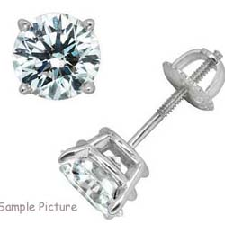 Round  diamond stud earrings.