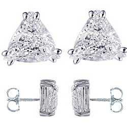 Triangles or Trillions diamond stud earrings