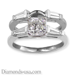 Bridal rings set, side tapered Baguette diamonds