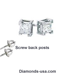 Princess diamond stud earrings