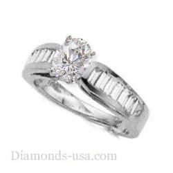Engagement ring settings, side Baguettes 0.95 carat