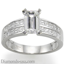 Engagement ring with side Princess diamonds