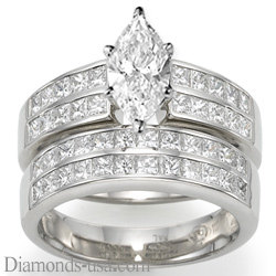 Bridal rings set, 2 carat princess sides