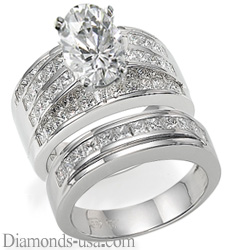 Bridal rings set,2.60 carat side princess diamonds