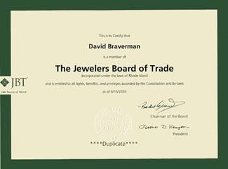 David Braverman Jewelers Board of Trade membership certficate