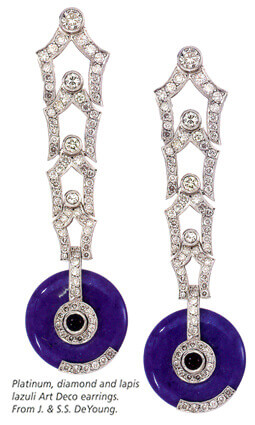 Platinum, diamond and lapis Art Deco earrings.