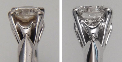 same diamond ring profile view, before and after cleaning