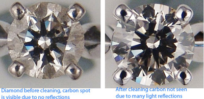 On left is set diamond with accumulated dirt, right after cleaning