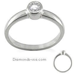 Engegement ring, Bezel set, for round diamonds.