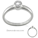 Picture of Engegement ring, Bezel set, for round diamonds.