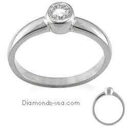 Engegement ring, Bezel set, for round diamonds.