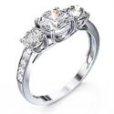 Foto Engastes de anillos de 3 piedras con diamantes laterales de